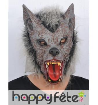 Masque complet de loup garou en fausse fourrure