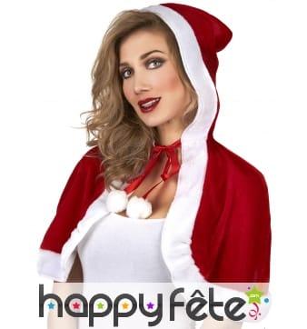 Mini cape de Mère Noël effet velours