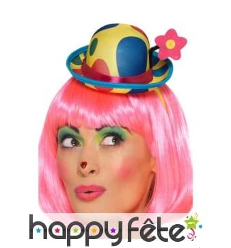 Mini chapeau de clown sur serre tête