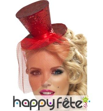 Mini chapeau haut de forme rouge pailleté