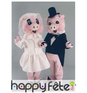 Mascotte cochonne mariés