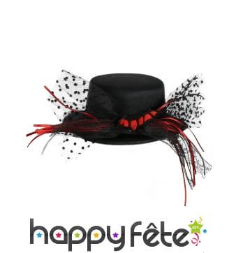 Mini chapeau noir avec rubans et chauve souris