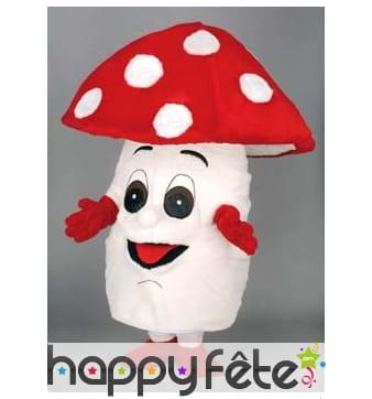 Mascotte champignon rouge et blanc