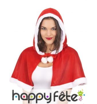 Mini cape rouge de mère Noël avec capuche