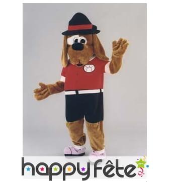 Mascotte chien sportif habillé