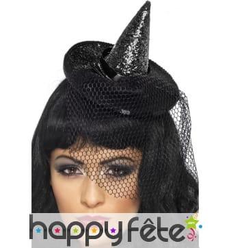 Mini chapeau sorcière à pailettes