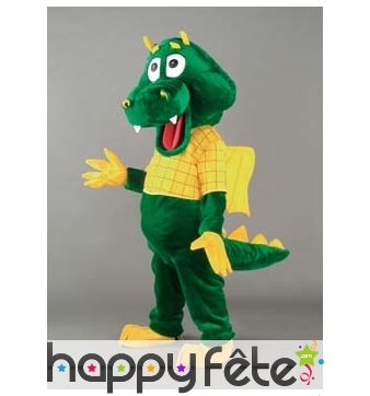 Mascotte crocodile vert et jaune