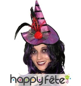 Mini chapeau violet de sorcière plumes et fleurs