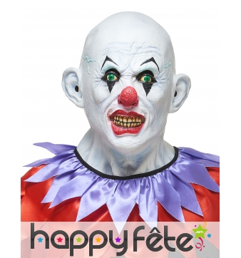 Masque de clown blanc chauve en latex