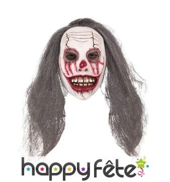Masque de clown effrayant avec long cheveux gris