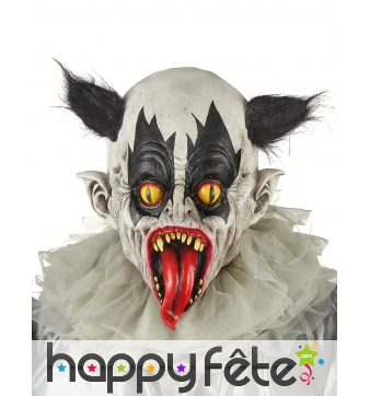 Masque de clown effrayant cheveux noirs,adulte