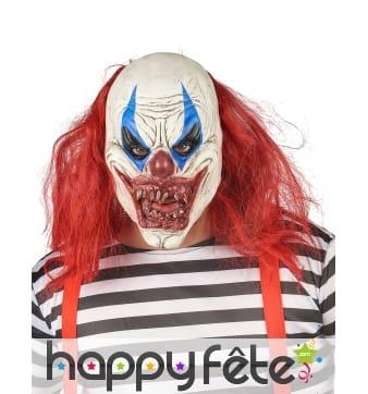 Masque de clown effrayant cheveux rouges, adulte