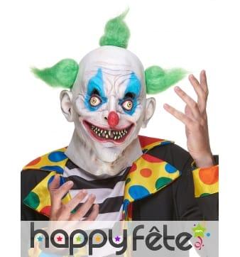 Masque de clown flou avec cheveux verts