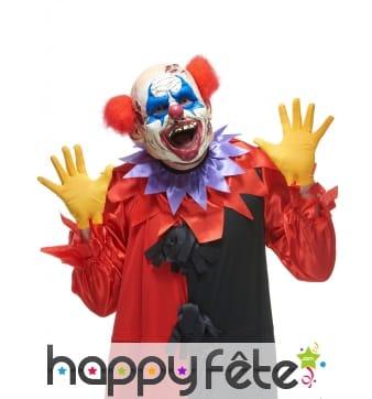 Masque de clown fou aux cheveux rouges