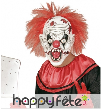 Masque de clown horrible avec cheveux rouges