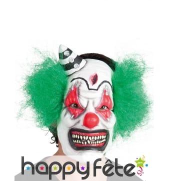 Masque de clown tueur avec cheveux verts