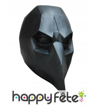 Masque de corbeau low poly noir