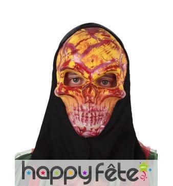 Masque de crâne orange ensanglanté avec cagoule