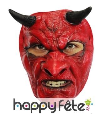 Masque de diable rouge, facial en latex
