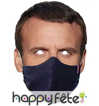 Masque de Emmanuel Macron avec masque, carton plat