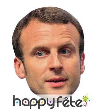 Masque de Emmanuel Macron en carton