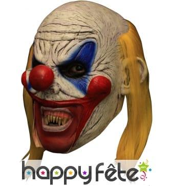 Masque d'horrible clown chauve et cheveux jaunes