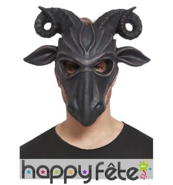 Masque de Krampus noir facial en latex