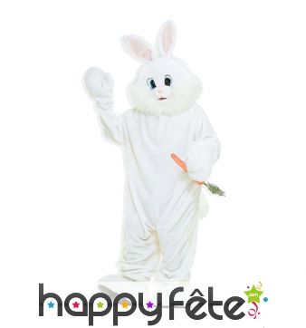 Mascotte de lapin blanc, version luxe