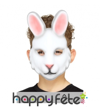 Masque de lapin blanc pour enfant