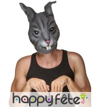 Masque de lapin gris foncé pour adulte
