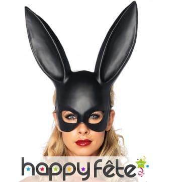 Masque de lapin noir avec grandes oreilles