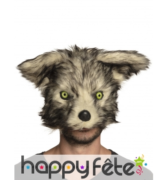 Masque de loup effet peluche pour adulte