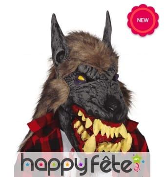 Masque de loup-garou avec énorme machoire, adulte