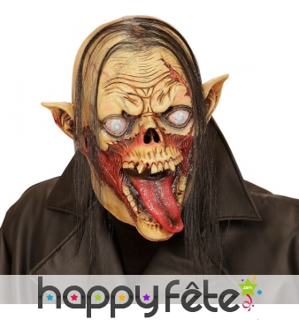 Masque de monstre squelette avec grande langue