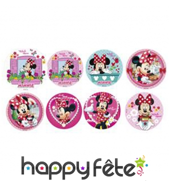 Minis disques Minnie mouse en sucre de 34mm