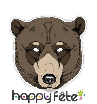 """Masque d""""ours dessiné en papier"""