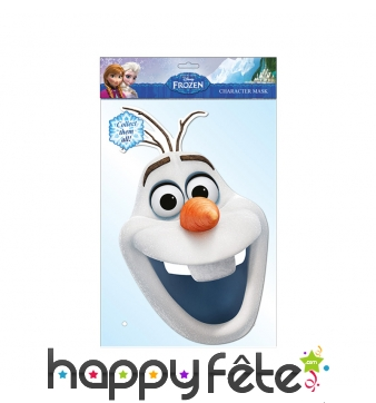 Masque de Olaf reine des neiges, en carton