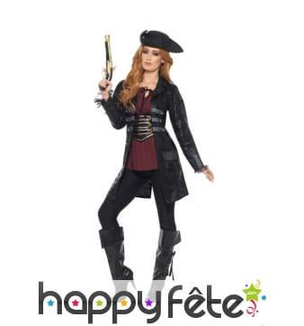 Manteau de pirate noir pour femme
