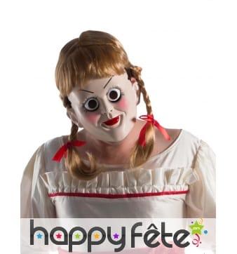 Masque de poupée Annabelle avec perruque