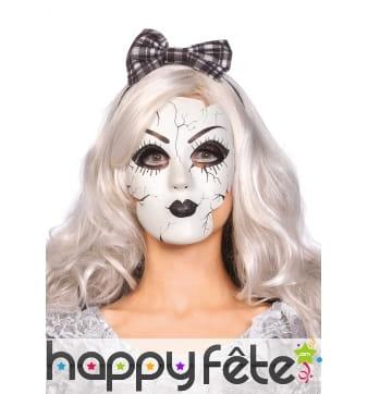 Masque de poupée de porcelaine blanc et noir