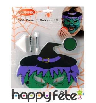 Maquillage de sorcière avec masque pour enfant