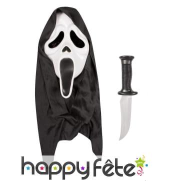 Masque de Scream avec couteau, pour adulte