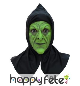 Masque de sorcière verte avec capuche
