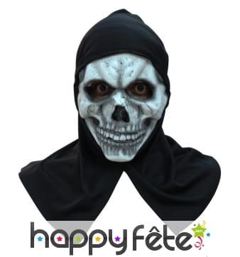 Masque de squelette avec capuche noire