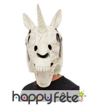 Masque de squelette licorne intégral pour adulte