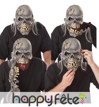 Masque de squelette zombie à machoir détachable