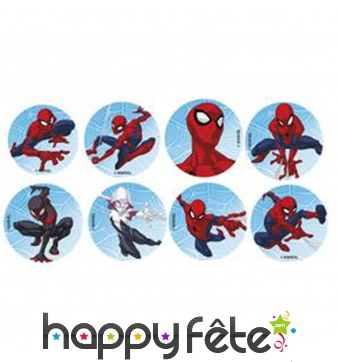 Minis disques Spiderman en sucre de 34mm