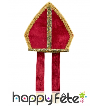 Mitre de Saint Nicolas aspect velours rouge adulte