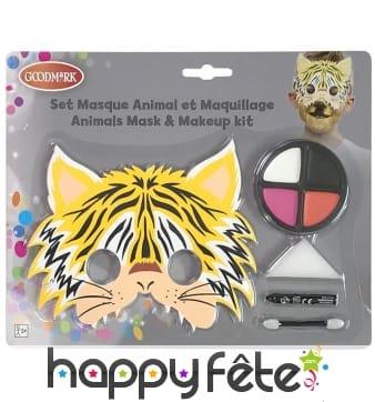 Maquillage de tigre pour enfant, avec masque