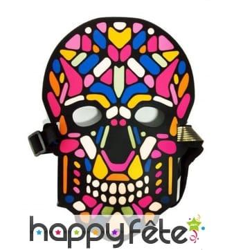 Masque de tête de mort sonore multicolore, adulte